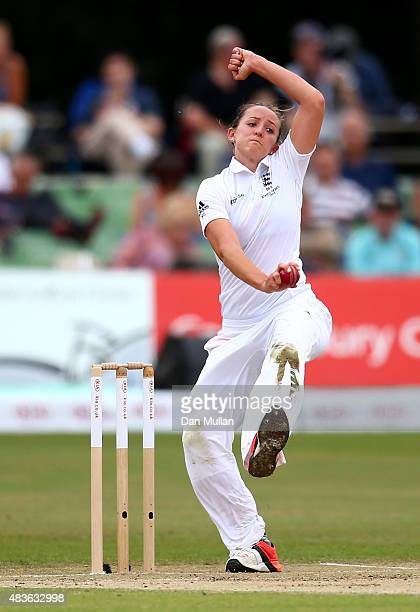 Kate Cross of England bowls during day one of the Kia Women's Test of the Women's Ashes Series between England and Australia Women at The Spitfire...