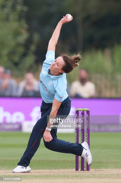 Kate Cross of England bowls during the 5th One Day International match between England and New Zealand at The Spitfire Ground on September 26, 2021...