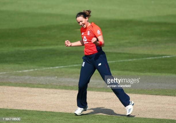 Kate Cross of England celebrates after dismissing Ashleigh Gardner of Australia during the 2nd Vitality Women's IT20 at The 1st Central County Ground...