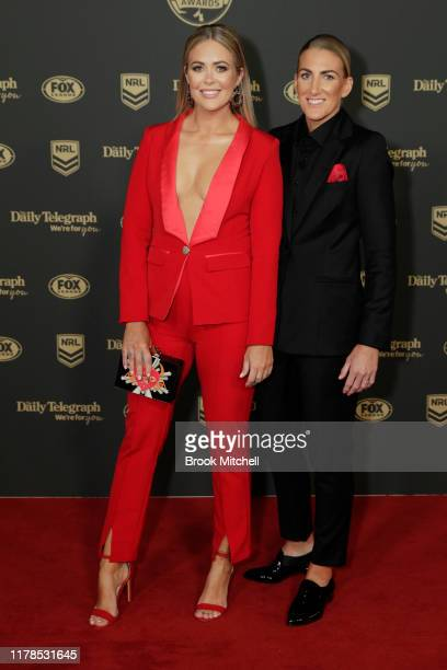 Kate Daly and Ali Brigginshaw arrive ahead of the 2019 Dally M Awards at Hordern Pavilion on October 02 2019 in Sydney Australia