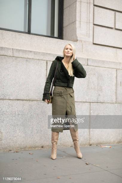 Kate Davidson Hudson is seen on the street during New York Fashion Week AW19 wearing Carolina Herrera on February 11 2019 in New York City