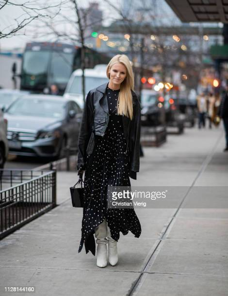 Kate Davidson Hudson is seen wearing dress with dots print leather jacket outside Ulla Johnson during New York Fashion Week Autumn Winter 2019 on...