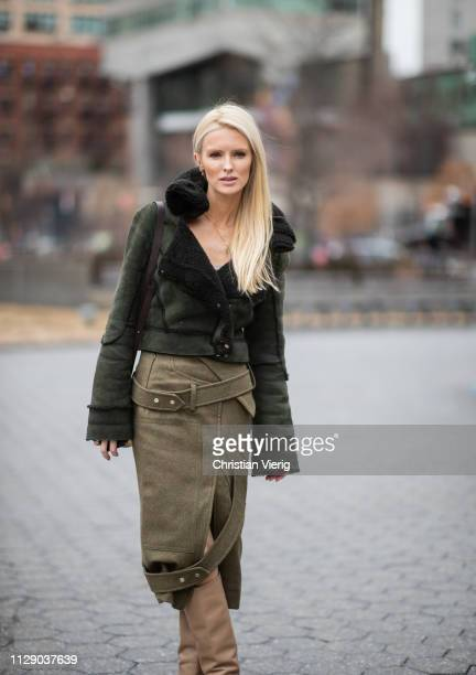 Kate Davidson Hudson is seen wearing olive skirt shearling jacket outside Zimmermann during New York Fashion Week Autumn Winter 2019 on February 11...