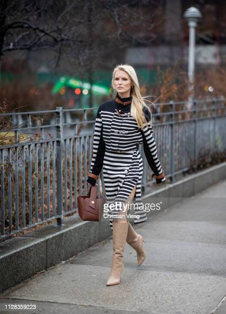 Kate Davidson Hudson is seen wearing striped dress outside Brock Collection during New York Fashion Week Autumn Winter 2019 on February 08 2019 in...