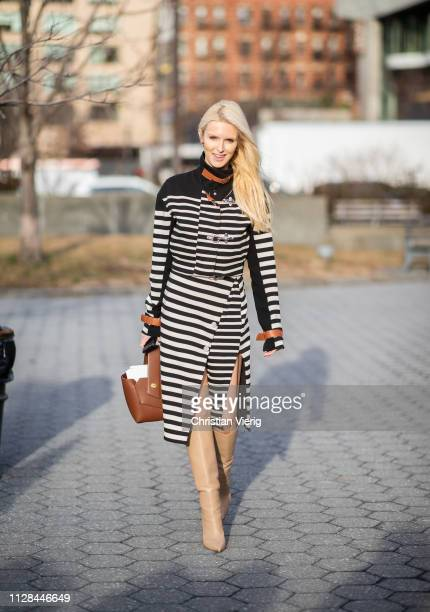 Kate Davidson Hudson is seen wearing striped dress outside Cushnie during New York Fashion Week Autumn Winter 2019 on February 08 2019 in New York...