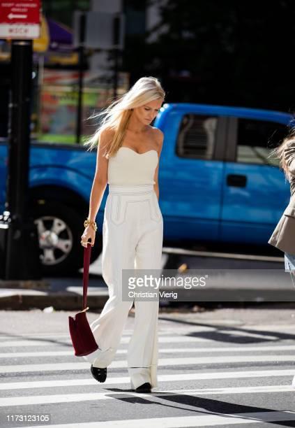 Kate Davidson Hudson is seen wearing white pants outside SelfPortrait during New York Fashion Week September 2019 on September 07 2019 in New York...