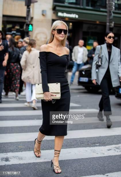 Kate Davidson Hudson seen wearing black dress outside Giambattista Valli during Paris Fashion Week Womenswear Spring Summer 2020 on September 30,...