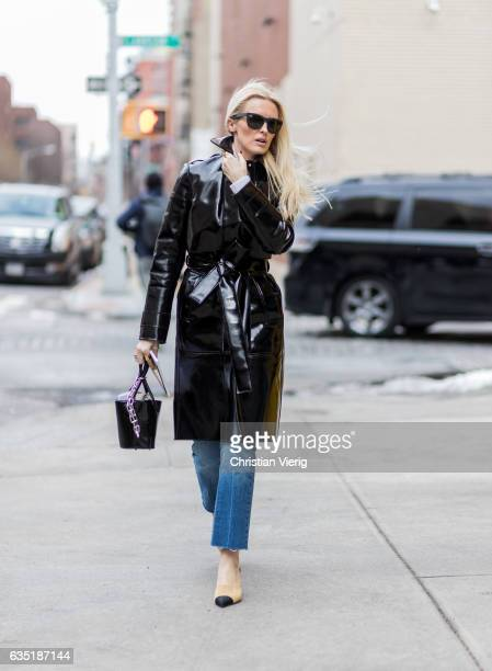 Kate Davidson Hudson wearing a vinyl coat outside Proenza Schouler on February 13 2017 in New York City