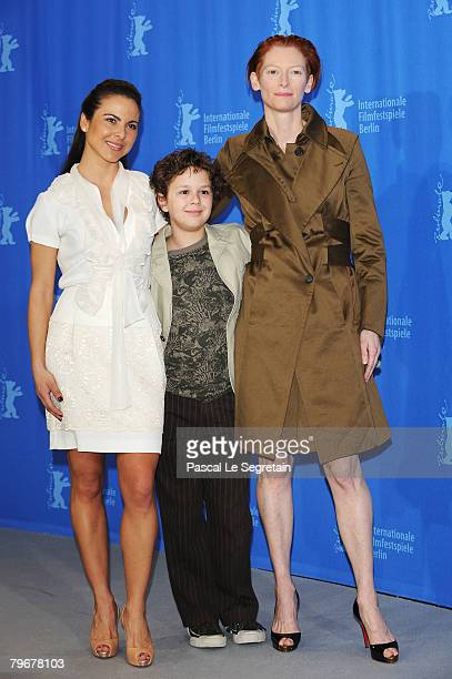 Kate del Castillo Aidan Gould and Tilda Swinton attend the 'Julia' Photocall and Press Conference as part of the 58th Berlinale Film Festival at the...