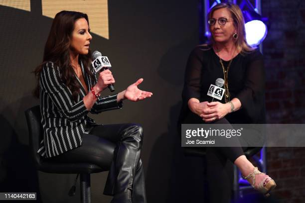 Kate Del Castillo and Jackie Hernandez speak onstage during Kate del Castillo's announcement of her landmark deal with global MMA brand Combate...