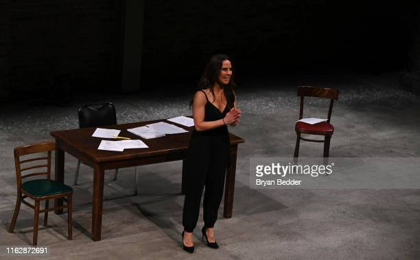 "Kate del Castillo is seen on stage during a curtain call at the Opening Night of ""the way she spoke"" at Audible's Minetta Lane Theater on July 18,..."