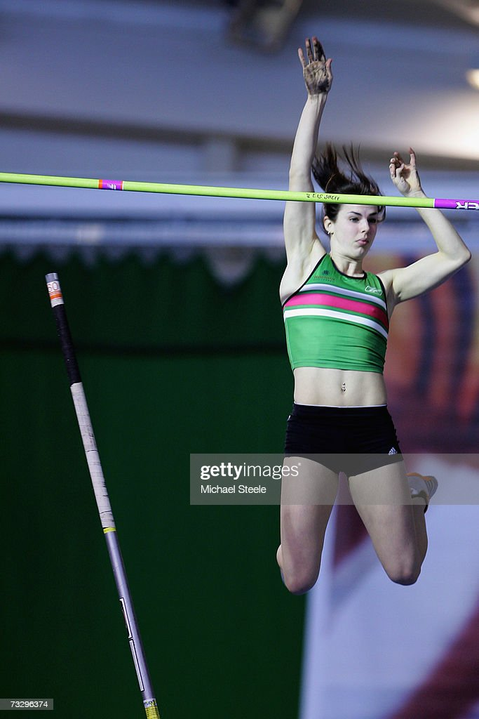 Kate Dennison Of Sale On Her Way To Victory In The Womens Pole Vault Final During