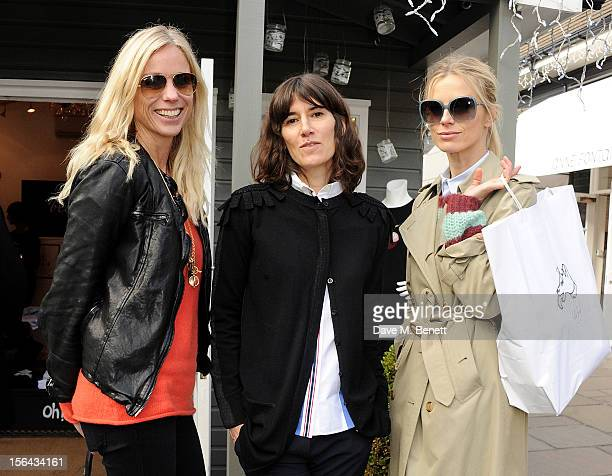 Kate Driver Bella Freud and Laura Bailey attend the launch of the Bella Freud popup boutique at Bicester Village on November 15 2012 in Bicester...