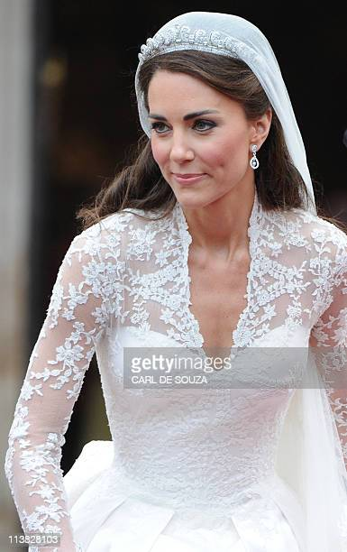 Kate Duchess of Cambridge comes out of Westminster Abbey with her husband Britain's Prince William following their wedding ceremony in central London...