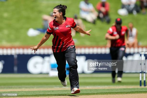 Kate Ebrahim of Canterbury celebrates after taking the wicket of Amelia Kerr of Wellington during the Super Smash T20 match between the Wellington...