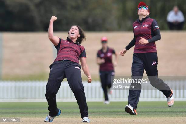 Kate Ebrahim of the Magicians celebrates after dismissing Sara McGlashan of the Hearts during the Women's One Day Final match between Canterbury...