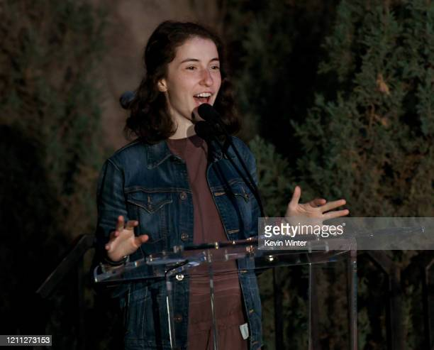"""Kate Eder speaks onstage at the """"Meet Me In Australia"""" event benefiting Australia Wildlife Relief Efforts at Los Angeles Zoo on March 08, 2020 in Los..."""