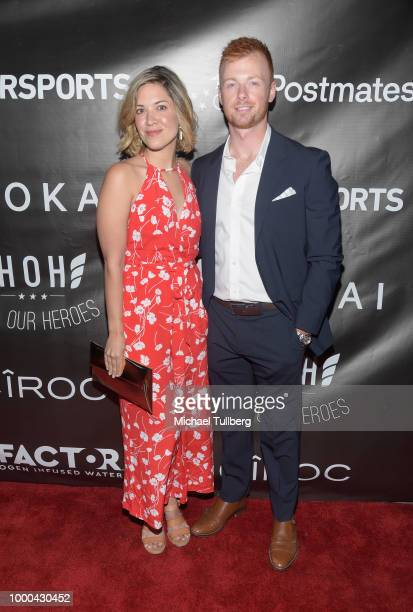Kate Edwards and Dustin Byers attend VaynerSports' 2nd Annual Celebrity ESPY's KickOff Party at Dream Hotel on July 16 2018 in Hollywood California