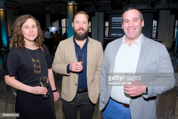 Kate Englund Pierce Wright and Elijah Nouvelage attend the John Moore Undocumented Book Launch at Neuehouse on March 27 2018 in New York City