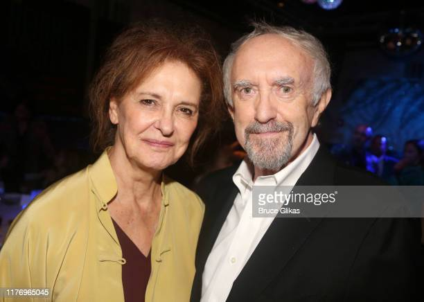 Kate Fahy and husband Jonathan Pryce pose at the opening night after party for the new play The Height of The Storm at The Copacabana on September 24...