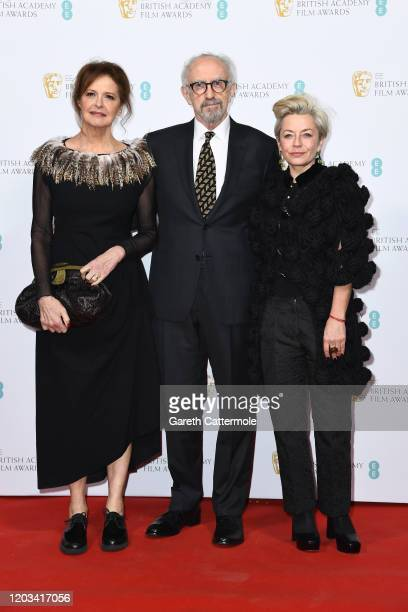 Kate Fahy Jonathan Pryce and Tracey Seaward attend the EE British Academy Film Awards 2020 Nominees' Party at Kensington Palace on February 01 2020...
