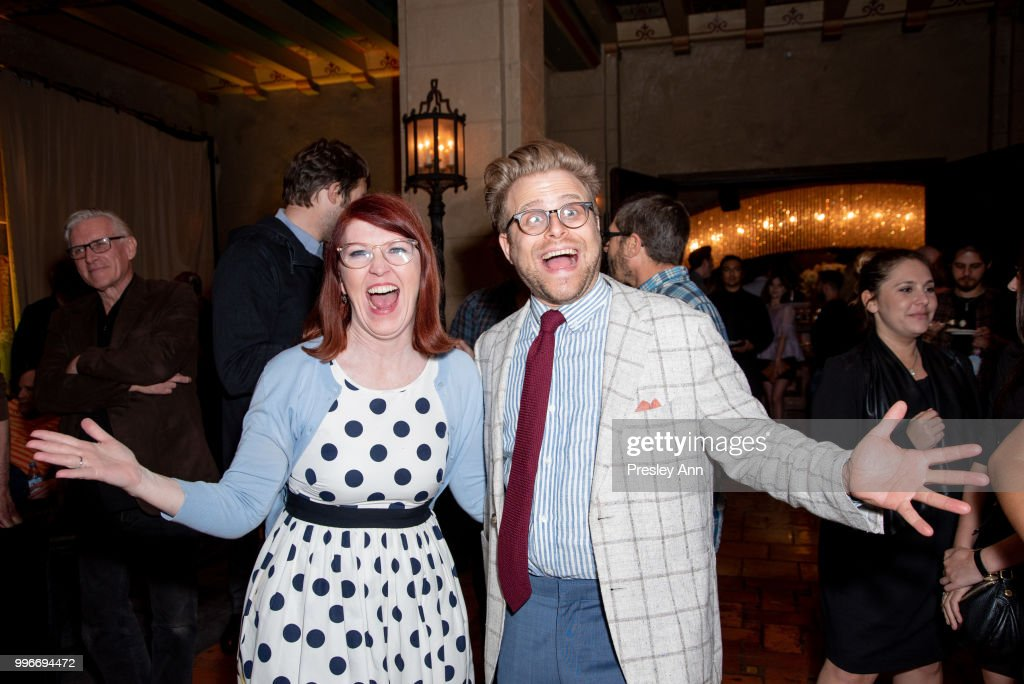 Kate Flannery and Adam Conover attend after party for the premiere of truTV's 'Bobcat Goldthwait's Misfits & Monsters' at Hollywood Roosevelt Hotel on July 11, 2018 in Hollywood, California.