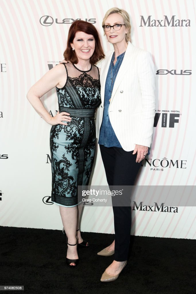 Kate Flannery and Jane Lynch attend Women In Film 2018 Crystal + Lucy Award at The Beverly Hilton Hotel on June 13, 2018 in Beverly Hills, California.