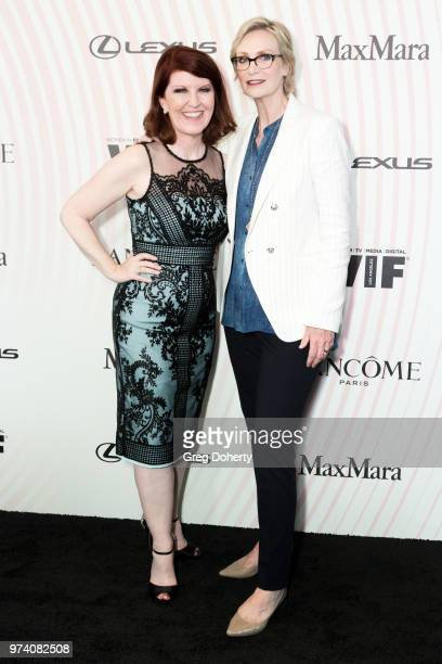 Kate Flannery and Jane Lynch attend Women In Film 2018 Crystal Lucy Award at The Beverly Hilton Hotel on June 13 2018 in Beverly Hills California