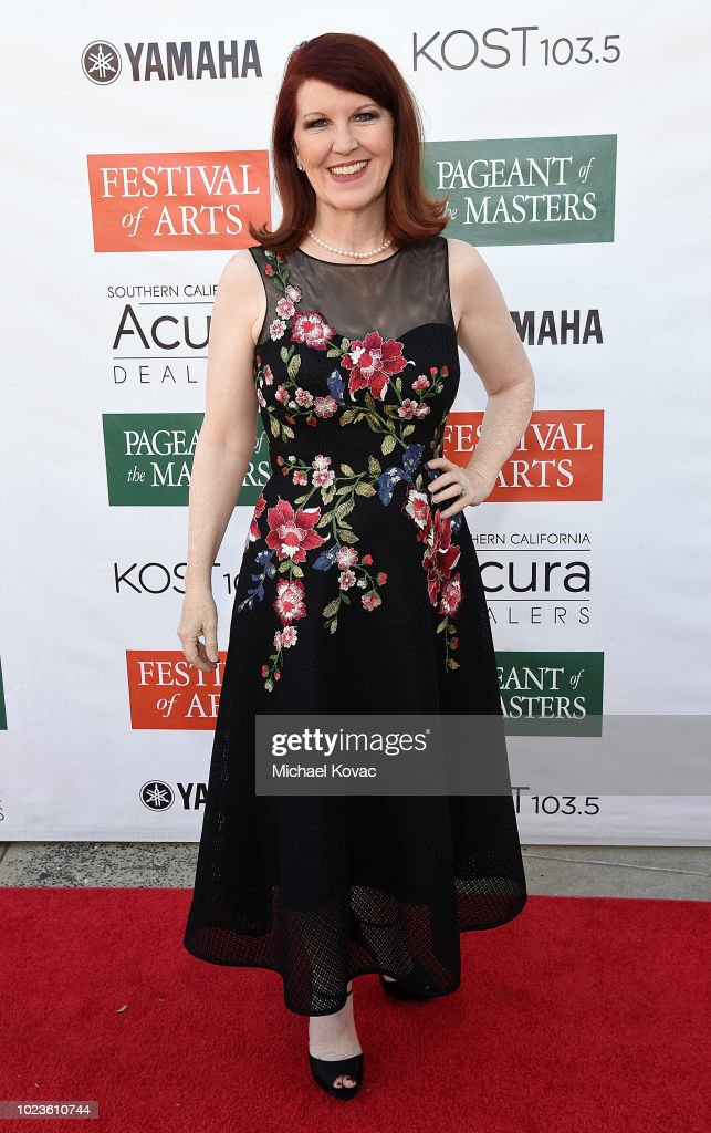 Kate Flannery arrives at the Festival of Arts Celebrity Benefit Event on August 25, 2018 in Laguna Beach, California.