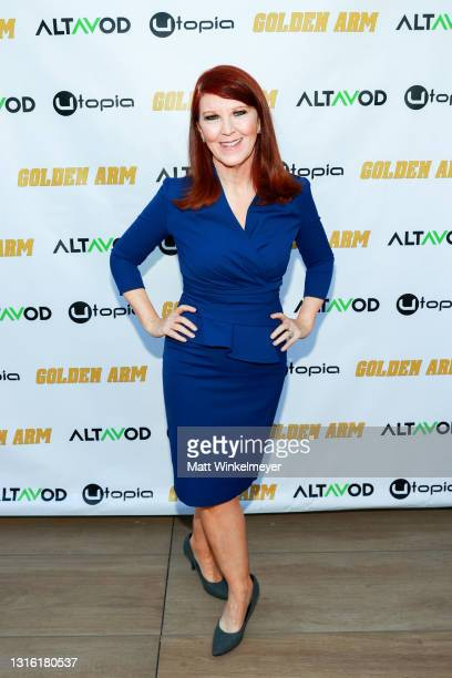 """Kate Flannery attends Utopia Films presents """"Golden Arm"""" premiere at Palm Sophia Rooftop on April 30, 2021 in Culver City, California."""