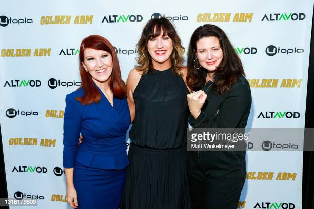 """Kate Flannery, Jenna Milly, and Ann Marie Allison attends Utopia Films presents """"Golden Arm"""" premiere at Palm Sophia Rooftop on April 30, 2021 in..."""