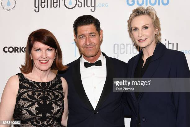 Kate Flannery Tim Davis and Jane Lynch attend a Generosityorg fundraiser for World Water Day at Montage Hotel on March 21 2017 in Beverly Hills...