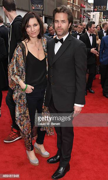 Kate Fleetwood and Rupert Goold attend The Olivier Awards at The Royal Opera House on April 12, 2015 in London, England.