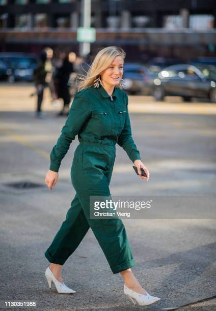 Kate Foley Osterweis is seen wearing green overall outside Preen during London Fashion Week February 2019 on February 17 2019 in London England