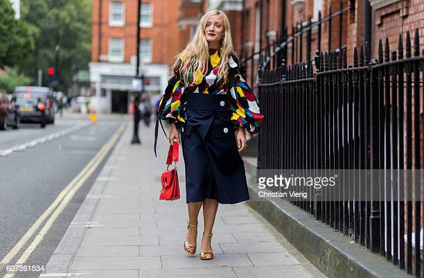 Kate Foley outside of JW Anderson during London Fashion Week Spring/Summer collections 2017 on September 17 2016 in London United Kingdom