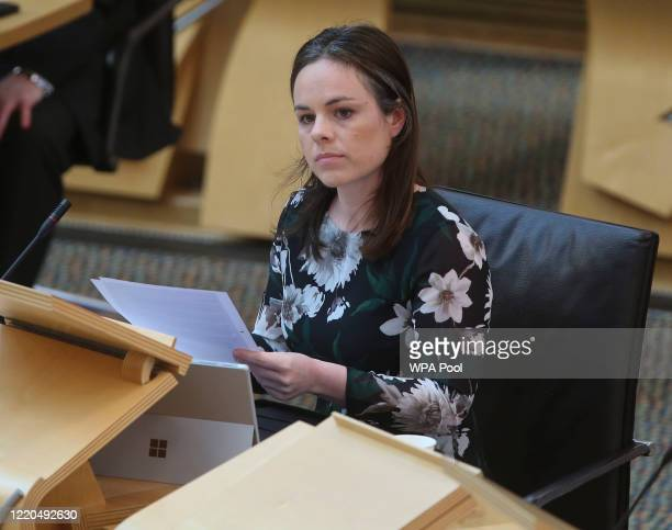 Kate Forbes, MSP Finance Secretary, during the Scottish Government Debate: Fiscal Implications of Covid-19 while practicing social distancing at the...