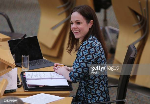 Kate Forbes, Scottish Finance Secretary speaks during a budget debate at Holyrood on February 25, 2021 in Edinburgh, Scotland.