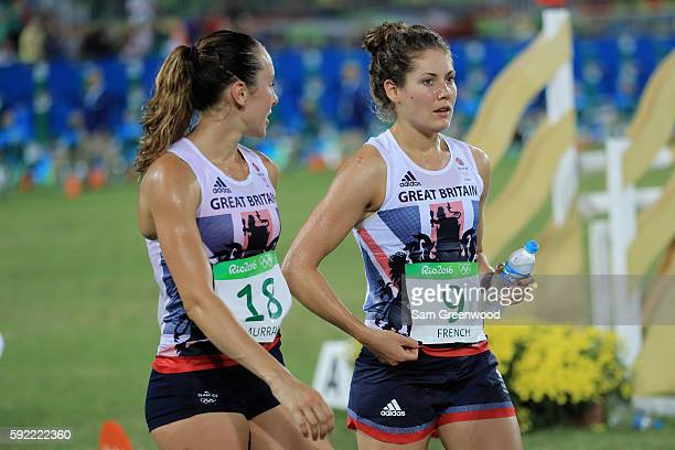 Kate French of Great Britain and Samantha Murray of Great Britain look on following the Combined Running/Shooting during the Modern Pentathlon on Day...