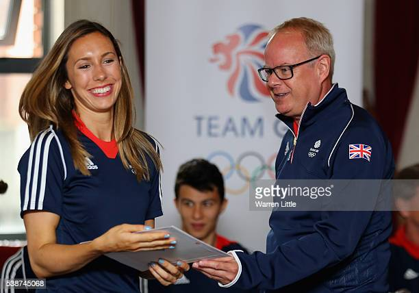 Kate French of Great Britain is pictured during an announcement of Modern Pentathlon athletes named in Team GB for the Rio 2016 Olympic Games at Hyde...