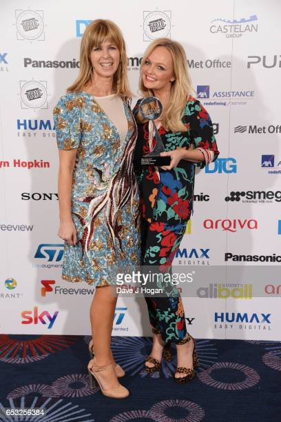 Kate Garraway and Emma Bunton pose in the winners room with the award for Digital Radio Personality at the TRIC Awards 2017 at The Grosvenor House...
