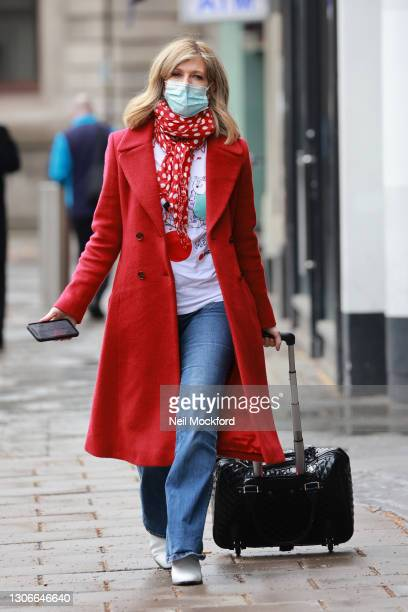 Kate Garraway arriving at Smooth Radio Studios on March 12, 2021 in London, England.
