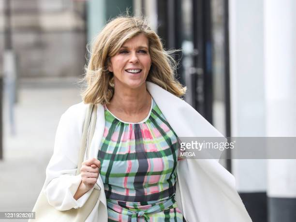 Kate Garraway is seen arriving at the Global Studios on March 25, 2021 in London, England.