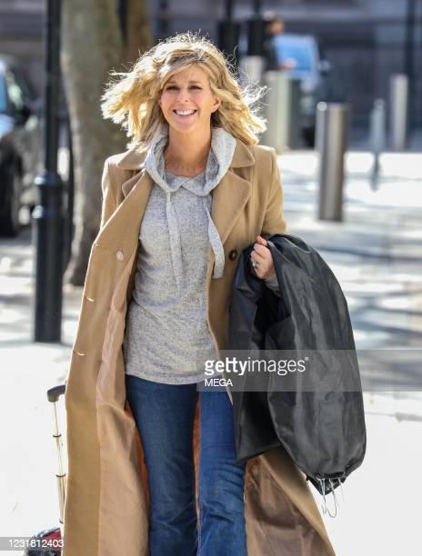 Kate Garraway seen arriving at Global Radio Studios on March 19, 2021 in London, England.