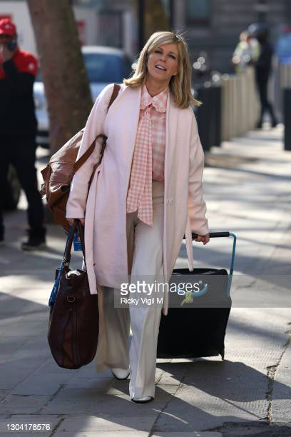 Kate Garraway seen arriving at Smooth Radio Studios on February 26, 2021 in London, England.