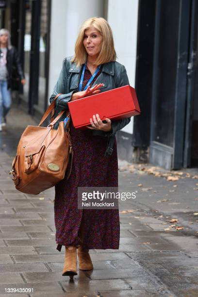 Kate Garraway seen arriving at Smooth Radio Studios with her NTA award from last night on September 10, 2021 in London, England.