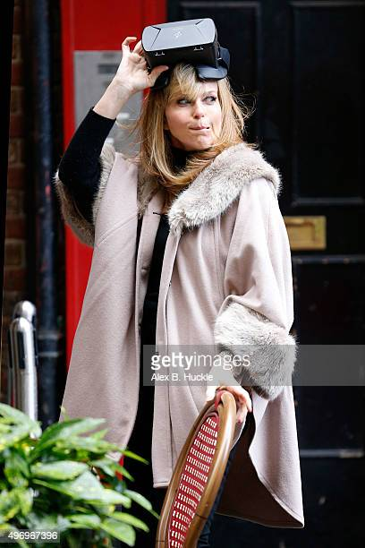 Kate Garraway seen in Leicester Square wearing an augmented reality headset on November 13 2015 in London England
