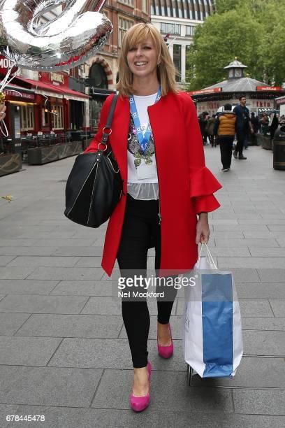 Kate Garraway seen leaving Global Radio Studios with 50 balloons on May 4 2017 in London England