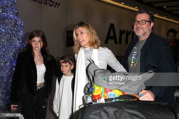 Kate Garraway with her husband Derek Draper, and children Darcey Draper and William Draper arrive at Heathrow Airport after returning from 'I'm A...