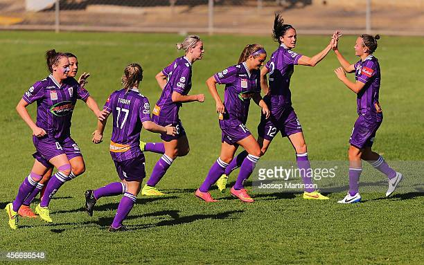 Kate Gill of the Glory celebrates a goal with teammates during the round four WLeague match between Western Sydney and Perth Glory at Marconi Stadium...