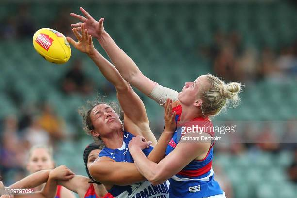 Kate GillespieJones of the Kangaroos competes in the air during the round three AFLW match between the North Melbourne Kangaroos and the Western...